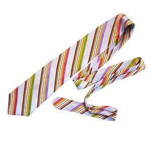 Silk Adult Lands End Candy Colors Striped Neck Tie